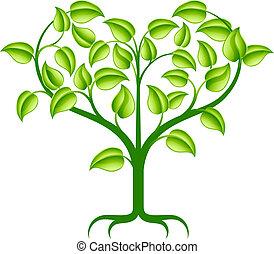 Ilustración del corazón verde