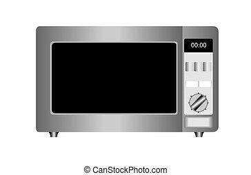 Ilustración del horno de microondas aislado en el fondo blanco.