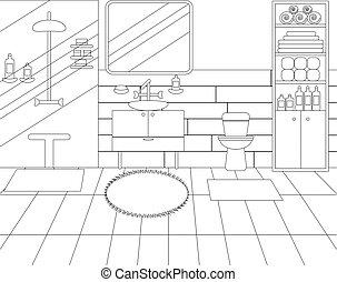 Ilustración del interior del baño