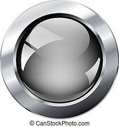 Ilustración del vector brillo gris y brillante botón de telaraña abstracta con anillo metálico. Aislado de fondo blanco.