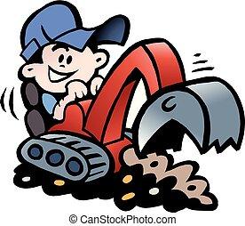 Ilustración del Vector Cartoonés de una torre Handyman trabajando con su mini excavadora