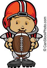 Ilustración del vector Cartoonal de un lindo jugador de fútbol con las manos sujetando la pelota