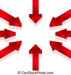 Ilustración del vector de flechas rojas