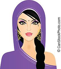 Ilustración del vector de la mujer india