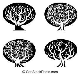 Ilustración del vector de un conjunto de árboles blancos y negros aislados en el fondo blanco