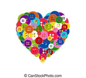 Ilustración del vector de un corazón hecho con los botones aislados en el fondo blanco. El tema del día de San Valentín.