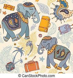 Ilustración del vector de un elefante. Patrón de viaje