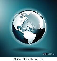 Ilustración del vector de un globo brillante en un fondo azul