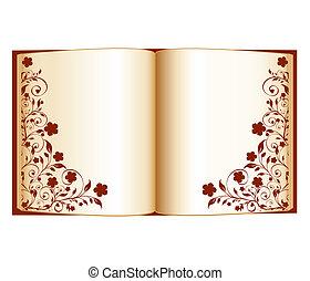 Ilustración del vector de un libro abierto con decoración floral