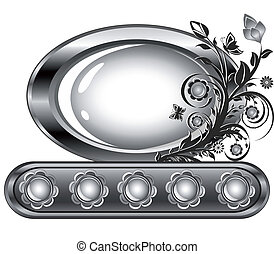 Ilustración del vector de un marco ovalado con adornos de flores aislados en un fondo blanco.