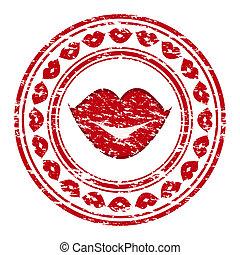 Ilustración del vector de un sello de goma grunge rojo con labios aislados en un fondo blanco