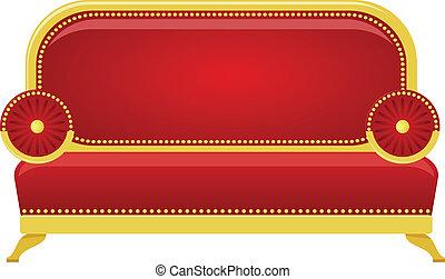 Ilustración del vector de un sofá rojo
