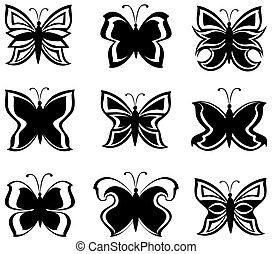 Ilustración del vector de una colección de mariposas blancas y negras aisladas en blanco