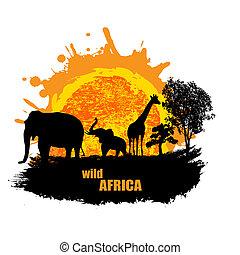 Ilustración del vector del atardecer en África salvaje