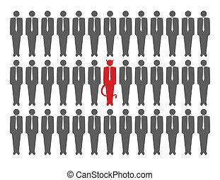 Ilustración del vector del diablo entre la multitud