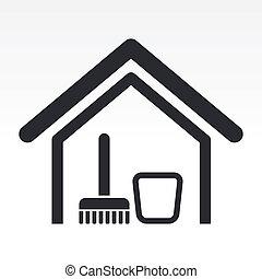 Ilustración del vector del icono de la casa limpia