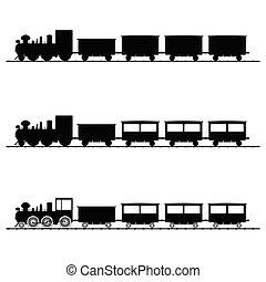 Ilustración del vector del tren silueta negra