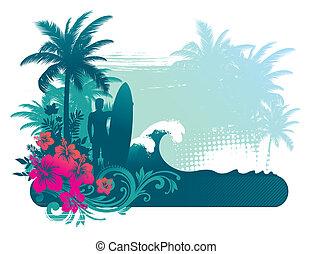 Ilustración del vector: Silueta surfista en paisajes atrocistas
