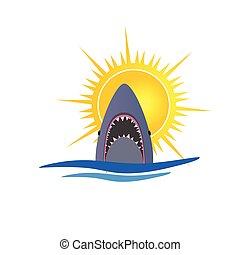 Ilustración del vector Tiburón y Sol