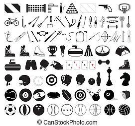 ilustración, deportes, accessories., vector, vario, colección