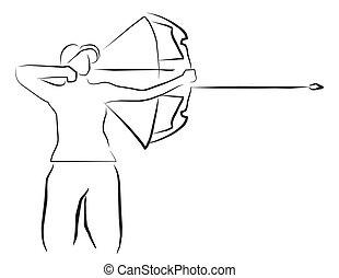 Ilustración deportiva de tiro con arco