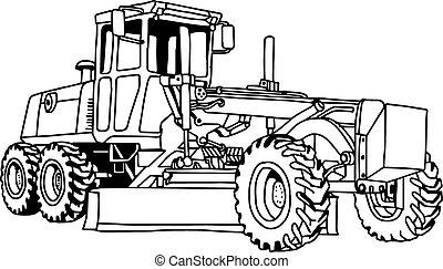 ilustración, dibujado, vector, calificador, machine., doodles, mano, excavador