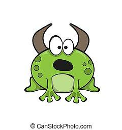 ilustración, divertido, vector, character., caricatura, rana mugidora