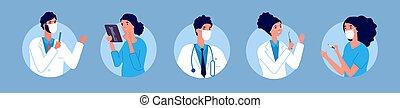 ilustración, doctors, avatars., atención sanitaria, protector, hospital, cirujano, personal, plano, masks., vector, enfermeras, trabajando, equipo, gente, clínica, emergencia, dentist., terapeuta, médico
