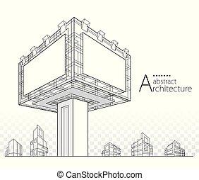 ilustración, edificio, 3d, diseño, resumen, cartelera, arquitectónico