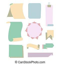 ilustración, efecto, colección, adhesivo, papeles, diferente, archivo, alfiler, rayas, pegajoso, aguja, vector, transparencia, o, oficina, accesorios