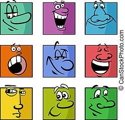 ilustración, emociones, caricatura, caras, conjunto, o