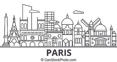 Ilustración en línea de arquitectura de París. Vector lineal Cityscape con puntos de referencia famosos, vistas de la ciudad, iconos de diseño. Landscape wtih derrames editables
