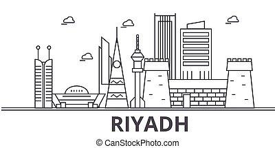Ilustración en línea de arquitectura de Riyadh. Vector lineal Cityscape con puntos de referencia famosos, vistas de la ciudad, iconos de diseño. Landscape wtih derrames editables