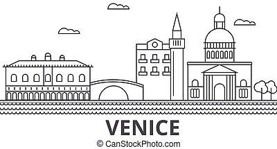 Ilustración en línea de arquitectura de Venecia. Vector lineal Cityscape con puntos de referencia famosos, vistas de la ciudad, iconos de diseño. Landscape wtih derrames editables