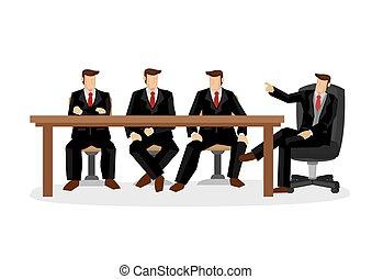 ilustración, equipo, discussion., negocio corporativo