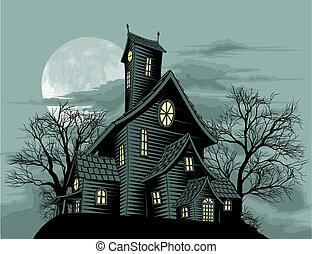 Ilustración espeluznante de la casa fantasma