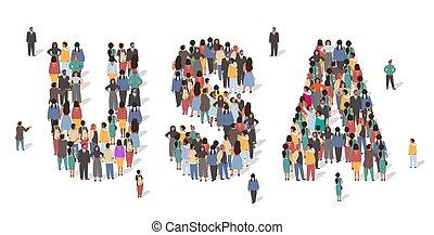 ilustración, estados, gente, multitud, bandera, vector, estancia, grupo, nosotros, gente, forma., américa, infographic, hecho, mapa, unido, formation., estados unidos de américa, grande, muchos