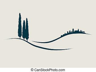 Ilustración estilizada mostrando San Gimignano en la historia de los colmillos