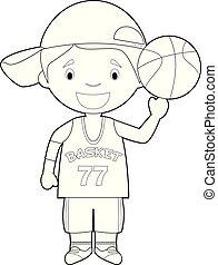 Ilustración fácil de colorear vector de un jugador de baloncesto.