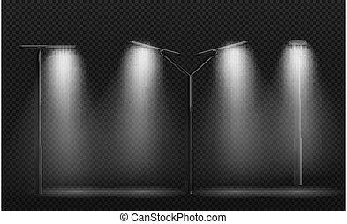 ilustración, farola, lámpara, leds.vector, post., utilizado