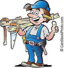 ilustración, feliz, carpintero