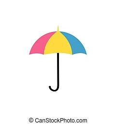 ilustración, fondo., aislado, paraguas, blanco, vector