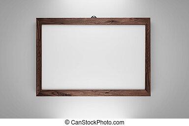 ilustración, fondo blanco, marco, oscuridad, 3d, aislado, render, de madera