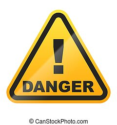 ilustración, fondo., señal, peligro, vector, aislado, blanco
