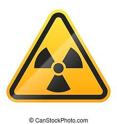 ilustración, fondo., señal, peligro, vector, radioactivo, aislado, blanco