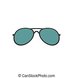 ilustración, gafas de sol, blanco, aislado, diseño, plano de fondo, caricatura, anteojos, vector, plano