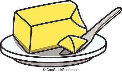 ilustración, garabato, mantequilla