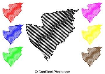 ilustración, garabato, república, cantagalo, sao, principe, distrito, vector, thomas, mapa, tomo, bosquejo, santo, (democratic, prince)