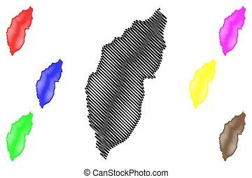 ilustración, garabato, república, sao, principe, distrito, vector, thomas, mapa, tomo, bosquejo, santo, (democratic, lemba, prince)