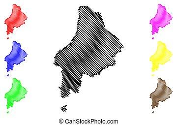 ilustración, garabato, república, sao, principe, distrito, vector, thomas, mapa, tomo, bosquejo, santo, (democratic, prince), caue